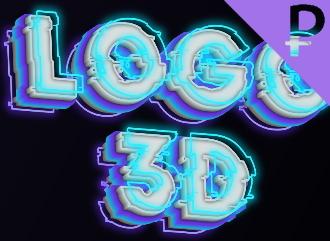 Неоновая надпись для шапки канала или видео превью с 3Д эффектом шрифт GLITCH
