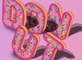 Сделать надпись в стиле пончика красивым шрифтом