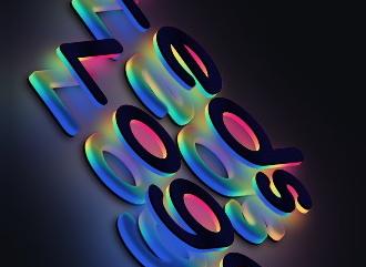 Сделать 3D лого красивым шрифтом с эффектом градиент светодиодов