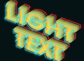 Шрифт с неоновыми светящимися контурами