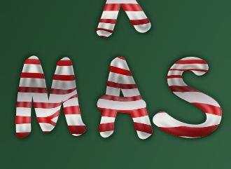 Создать новогоднюю надпись эффект карамели на новый год
